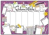 Schreibtischunterlage EINHORN WOCHE zum Abreißen aus Papier - DIN A3 Schreibunterlage mit Wochenplaner, Tages-Plan, To-Do Liste, Shopping-Liste - 25 Blatt Abreißblock für Mädchen jeden Alters in Lila
