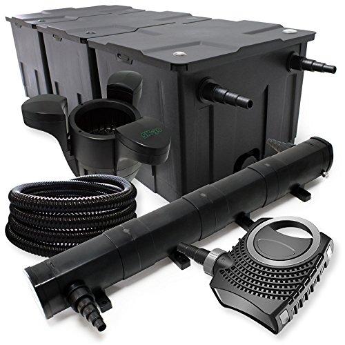 Filter Set aus Bio Teichfilter bis 90000l, UVC Klärer mit 72W, 80W Pumpe, 25m Schlauch, Skimmer