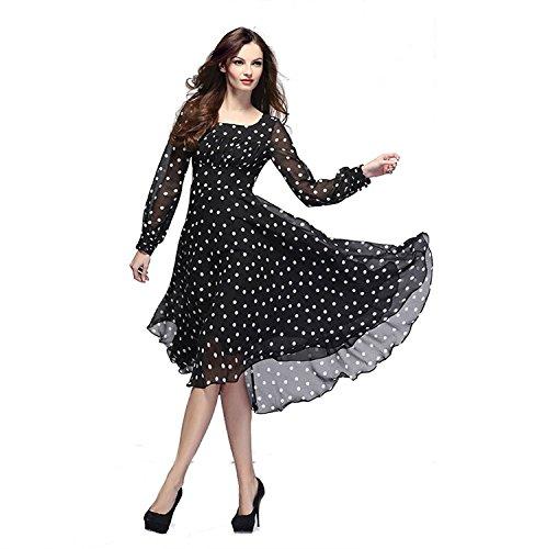 Shyam Export Girl's Crepe Georgette Daily Wear Top (SE-Black-Dott-Top-Black-XL)