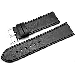 Black Leather Watch Strap Band With A Stitched Edging And Nubuck Lining 24mm