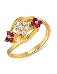 Mahi Ruby & CZ 24K Gold Plated Fashion Finger Ring For Women FR1100309G