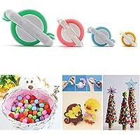 SAVFY® 1 Kit 4 Tailles Pompons de Tissage Pour Fabriquer des Pompons Boule Maker Pattern Craft Tricot Outil Peluches Boule Weaver DIY