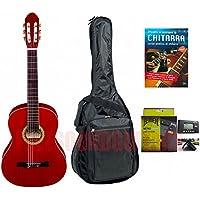 CHITARRA CLASSICA DARESTONE 4/4 COLORE ROSSO BORSA ACCORDATORE Corso di chitarra copertina rilegata 256 pagine.