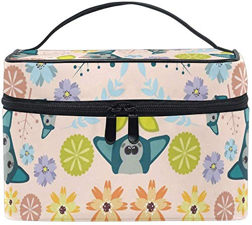 Dog Flower Puppy Cosmetic Bag Organizer Zipper Makeup Bags Pouch Toiletry Case for Girl Women