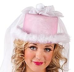 Idea Regalo - Boland 01357 - Cappello con Velo Pink Bride per Addio Nubilato, Bianco/Rosa, Taglia Unica