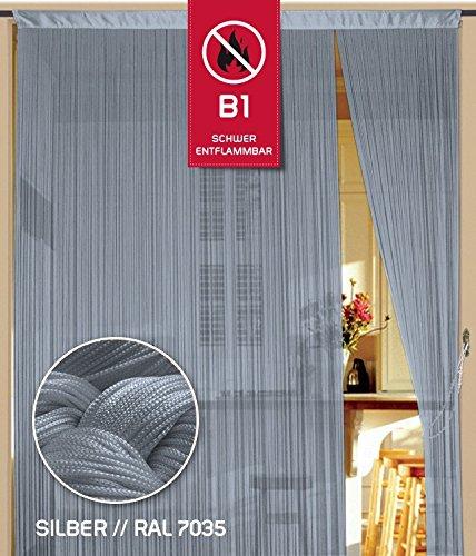 Kaikoon Fadenvorhang 090 cm x 240 cm (BxH) silber in B1 schwer entflammbar
