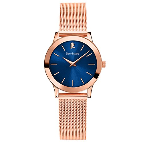Pierre Lannier Pure Line – 051h968 – Weekend – Ladies Watch – Analogue Quartz – Blue Dial – Bracelet Steel Plated Pink