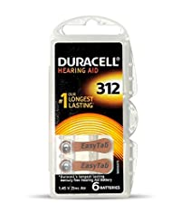 Duracell Easytab Hearing Aid Batteries Size 312, Pack of 30 (6 x 5), 1.45 V