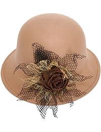 KAXIDY Femme Chapeau Fleur Classique Rétro Chapeaux Melon Laine Voyage Soirée