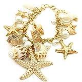 Amesii Braccialetto in stile marino, con stelle marine, conchiglie e perle sintetiche, estivo e per la spiaggia