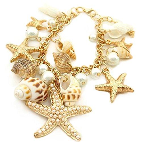 Amesii Braccialetto stile marino con stelle marine conchiglie e perle sintetiche estivo e per la spiaggia