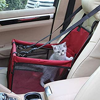 Aandyou Pet Car Booster Seat Breathable Waterproof Pet Dog Car Supplies Travel Pet Car Carrier Bag Seat Protector Cover with Safety Leash for Small Dogs Cats Puppy (Red) 11