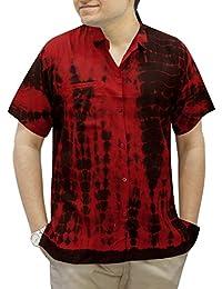 La Leela rayonne premium tout en 1 cravate colorant régulière bouton beachwear casuals Fit officewear soirée theme lounge bas poche avant chemise courte hawaïen robe de manches hommes de base rouge