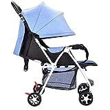 baby stroller Kinderwagen Ultraleicht Kann Liegen Gefaltet Kinderwagen Vier Kinder Regenschirm Kinderwagen Kinderwagen,Blue