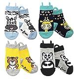 Ez Sox Jungen und Mädchen Kleinkind Socken, nahtlose Zehen (1-3 Jahre, Zebra/Giraffe/Tiger/Panda)