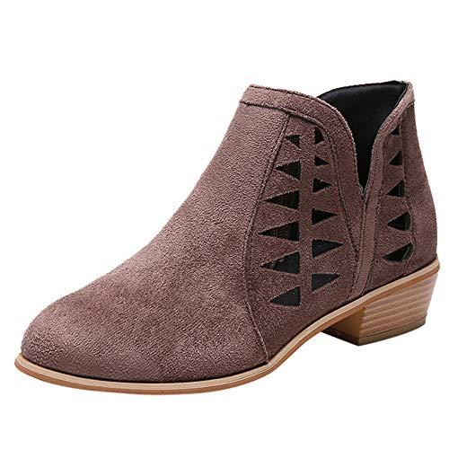 MYMYG Damen Ankle Boots Chelsea Boots Frauen Vintage Chunky Low Heels Starke Ferse Kurze Stiefel...