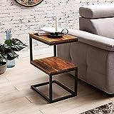 WOHNLING Beistelltisch AKOLA S-Form Massiv-Holz Sheesham / Metall 45 x 60 x 30 cm | Design:ohnzimmertisch Landhaus-Stil | Anstelltisch Ablagetisch eckig