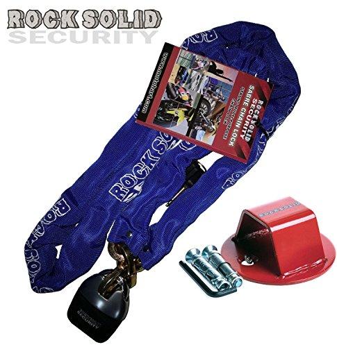 Motorrad Kettenschloss Rock Solid Kette + ATOM Bodenanker Befestigungsanker (Kette 180CM)
