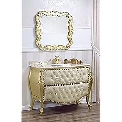 Como cómoda lavabo abombada y espejo estilo barroco fracese hoja oro mármol crema sintética champán botones pomos Swarovski