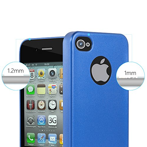 Cadorabo - >            Apple iPhone 4 / 4S            < TPU Ultra Slim matte Metallic Silikon Hülle - Case Cover Schutz-Hülle in METALLIC-BLAU METALLIC-BLAU