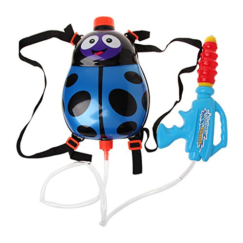 ZJL220 Kids Cartoon Beetle Summer Squirt Super Soaker Plastic Water Gun Backpack Toy (Toy Guns Squirt)