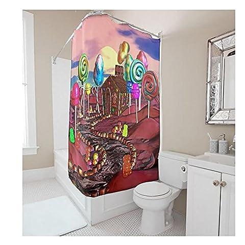 Rideau de douche de salle de bain haut de gamme - Tissu en polyester imperméable et anti-Mildew - Modèle de château de rêve de dessin animé - Une variété de tailles -12 Crochet , 1.5m*1.8m