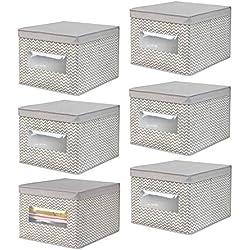 mDesign Grande boîte de Rangement avec Couvercle (Lot de 6) - boîte de Rangement Tissu idéale pour Le Bureau - Panier de Rangement avec fenêtre de visualisation et imprimé Zigzag - Taupe/Beige