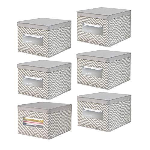 mDesign grande boîte de rangement avec couvercle (lot de 6) – boîte de rangement tissu idéale pour le bureau – panier de rangement avec fenêtre de visualisation et imprimé zigzag – taupe/beige
