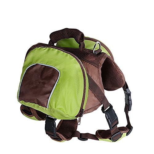 PQXOER-PE Hunde-Satteltasche Polyester Wanderrucksack für Hunde, verstellbare Satteltasche Hund Rucksack Hund Reisetasche für Outdoor (grün, orange, rot) S/M/L/XL
