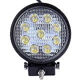Viugreum 27W 2700LM Runde LED Arbeitsscheinwerfer, 12V 24V LED Offroad, Flutlicht Reflektor Scheinwerfer Arbeitslicht für SUV Truck Car und Mehr, IP67 Scheinwerfer Rückfahrscheinwerfer