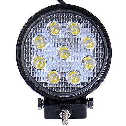 Viugreum 27W 2700LM Runde LED Arbeitsscheinwerfer, 12V 24V LED Offroad, Flutlicht Reflektor Scheinwerfer Arbeitslicht für SUV Truck Car und Mehr, IP67 Scheinwerfer Rückfahrscheinwerfer -