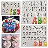 Alfabeto minuscolo maiuscolo Lettera Numero Stampo in Silicone Fondente Torta Cupcake Decorazione Caramelle al Cioccolato Dessert Stampo da Forno sugarcraft Fai da Te Confezione da 3