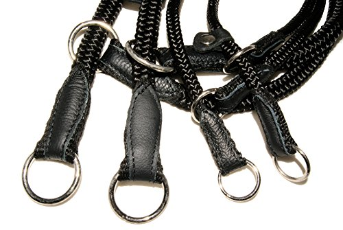 "ZOOLESZCZ Black HandMade Strong Rope Rolled Slip Dog Choker Collars with black leather (16"") 2"