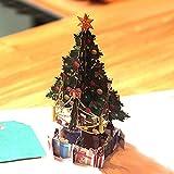 Gaddrt Grußkarte Grußkartenhalter 3D Pop Up Karte Weihnachtsbäume Urlaub Frohe Weihnachten Gruß Karten 15x15cm