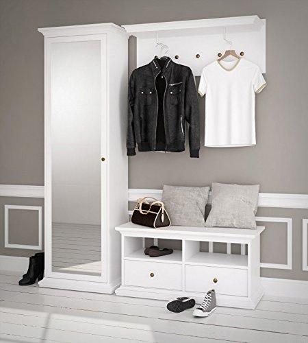 Paris Garderoben Set Komplettset Kompaktgarderobe Flur Weiß