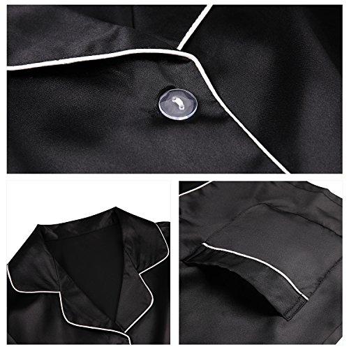 Sankill Donna Set di pigiama in seta satinata Sleepwear e Loungewear con Gift Sleep Mask Nero