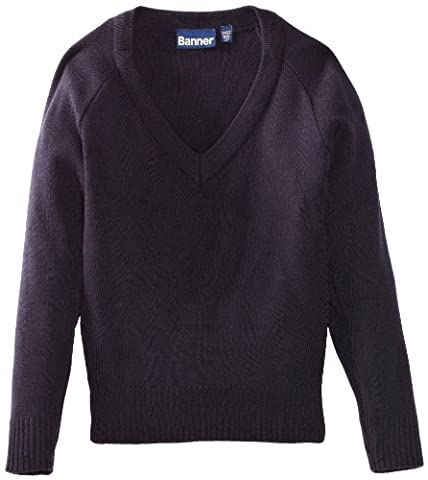 Blue Max Banner Junior Unisex Premier V-Neck School Jumper, Navy Blue, 34