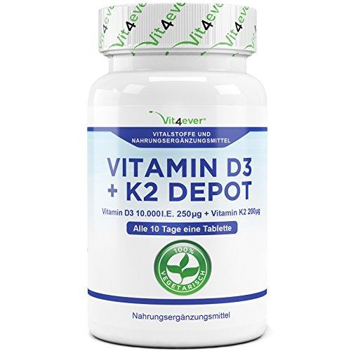Vitamin D3 10.000 I.E + Vitamin K2 200mcg Menaquinon MK7 Depot - 180 Tabletten - 10 Tagesdosis 1000 I.E. D3 pro Tag - Alle 10 Tage eine Tablette, Vegetarische Tabletten, Vit4ever (1000 Natürliches Ie)