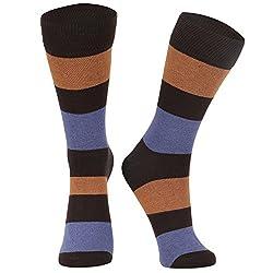DUKK Men's Striped Brown & Blue & Orange Crew Length Socks