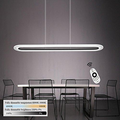 ZMH LED Pendelleuchte esstisch Deckenleuchte 40W Dimmbar Büroleuchte höhenverstellbar Hängeleuchte, die Helligkeit kann man sich verstellen, Acryl stoff Panelleuchte für Büro Hängelampe esstisch, Arbeitszimmer, Wohnzimmer Pendellampe
