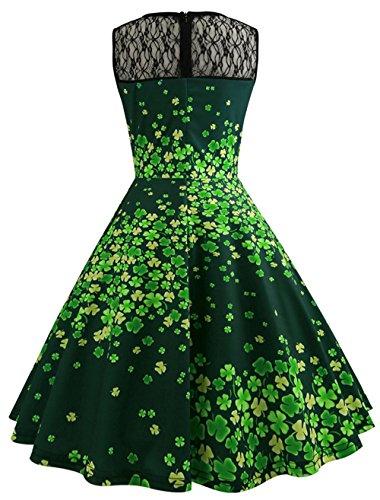 �m Kleid St. Patrick Day Sporadisch Grün Klee Print Swing Kleid Schwarz Mesh Patchwork Design Dress (Irische Kostüme Für Frauen)