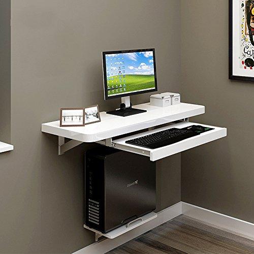 ZR-Tavolo da parete Computer da tavolo da parete PC Scrivania per computer portatile per casa ufficio Bambini, bambini, bianco -salva lo spazio (dimensioni : 80 centimetri)