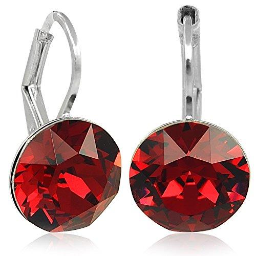Ohrringe Rot mit Kristallen von Swarovski® Silber Damen NOBEL SCHMUCK