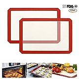 Dr Nezix 2 Pack Silikon Backmatte Cookie Tabelle wiederverwendbar hitzebeständig Antihaft-Matte für Mikrowelle Toaster Ofen Tablett Pfanne, 41.9 cm X 29.5 cm Professional FDA genehmigt Lebensmittel Silikon