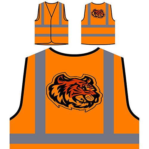 (Tiger Kopf Maskottchen-Logo Personalisierte High Visibility Orange Sicherheitsjacke Weste u621vo)