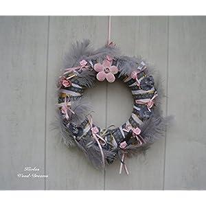 Kranz, rosa, grau, Hochzeitsdeko, Geschenk für sie, romantisch