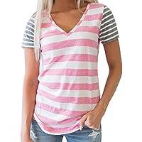 Tosonse Camiseta para Mujer Tops Blusa Tanques Sexy Camisas Concierto Camiseta con Cuello En V Camiseta con Cuello En V Túnica A Rayas