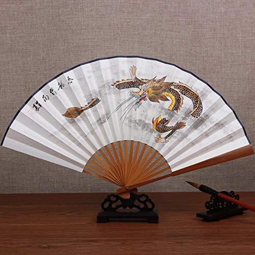 XIAOHAIZI Handfächer,Sommer Handgemalte Tier Drachen Bambus Fan Retro Chinesischen Stil Männer Geschenk Faltfächer Für Zuhause Wanddekoration (Chinesischer Papier Drachen Kostüm)