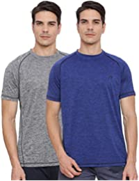 Proline Active Mens Grey/Blue Tshirt(PA032DESD/MBSD)-Pack Of Two
