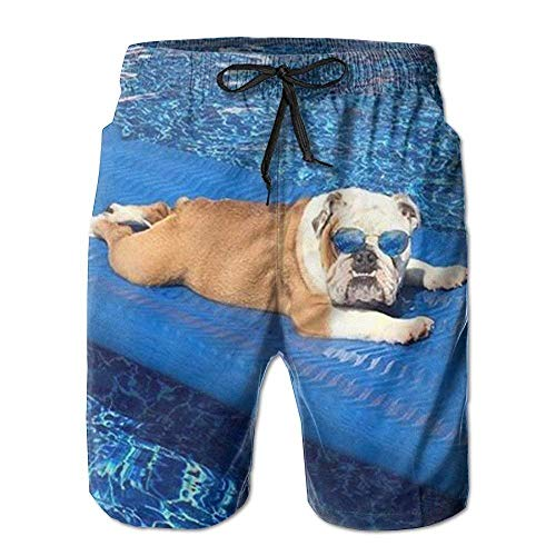 OQUYCZ English Bulldog Wearing Sunglasses Sunbathe at The Pool Mens Quick Dry Swim Trunks Athletic Beach Board Shorts Pants (Snow Pants Women 14)